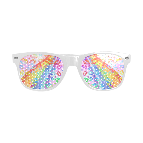 Women Sexy Hot Lips Comic - Rainbow Pop Art 2 Custom Sunglasses (Perforated Lenses)