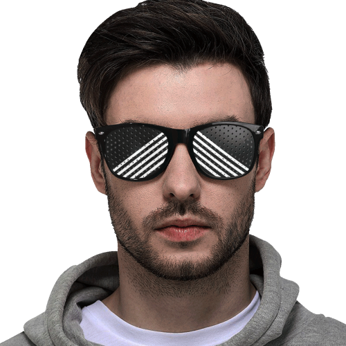 Modern Black Background Diagonal Stripes Cut Custom Sunglasses (Perforated Lenses)