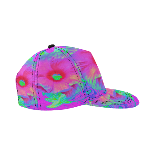 5c25f704d06f6 ... Psychedelic Pink and Red Hibiscus Flower All Over Print Snapback Hat D  ...