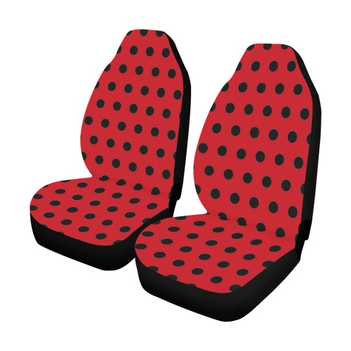 Red Black Polka Dots Car Seat Covers Set Of 2