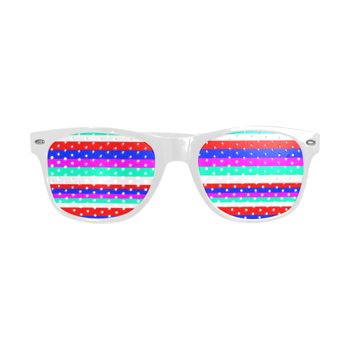 Colored Stripes - Fire Red Royal Blue Pink Mint Wh Custom Sunglasses (Perforated Lenses)