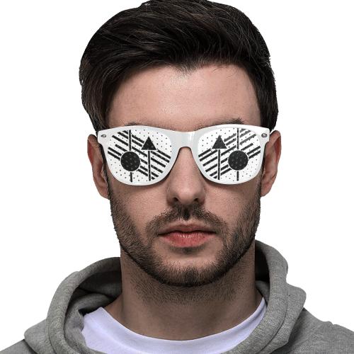 Black Geometric Art Stripes Triangle Dot Custom Sunglasses (Perforated Lenses)
