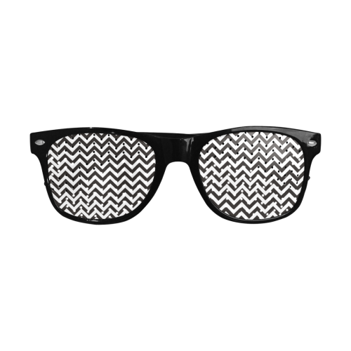 HIPSTER zigzag chevron pattern black & white Custom Sunglasses (Perforated Lenses)