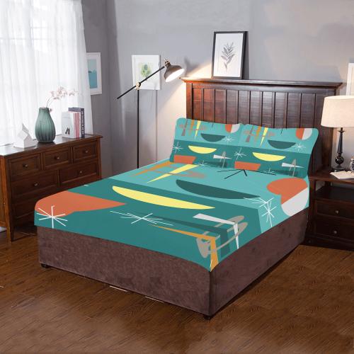 Turquoise Atomic Era 3 Piece Bedding Set Id D3102188 - Geometrical-shapes-on-bedding