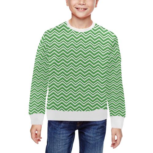 Green Chevron All Over Print Crewneck Sweatshirt for Kids (Model H29)