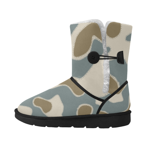 white  brown blue Camouflage BOOTS 2 Unisex Single Button Snow Boots (Model 051)