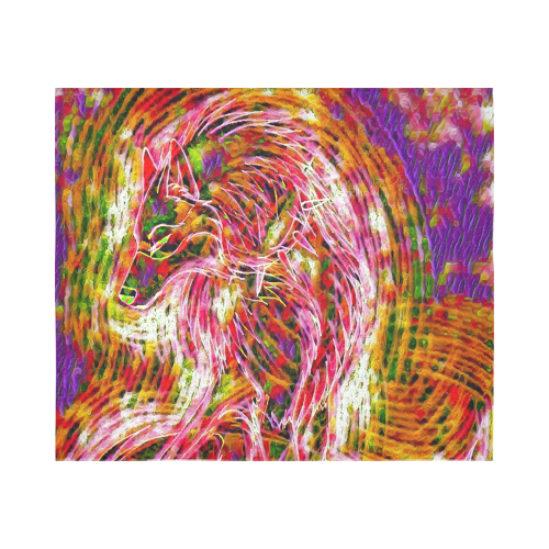 Psychedelic Acid Trip Wolf Rave Black Light Cotton Linen Wall Tapestry 60 X 51 Id D3479323