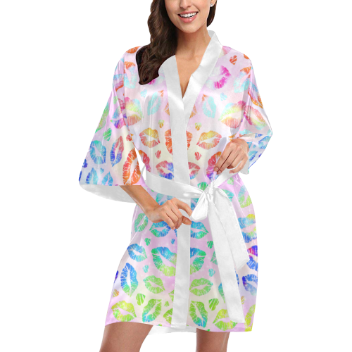 Women Sexy Hot Lips Comic - Colorful Pop Art 2 Kimono Robe