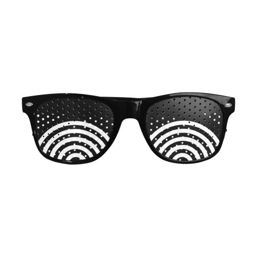 Modern Black Background Target Rings Cut Custom Sunglasses (Perforated Lenses)