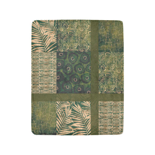 "Green  Python Jungle Patchwork Ultra-Soft Micro Fleece Blanket 40""x50"""