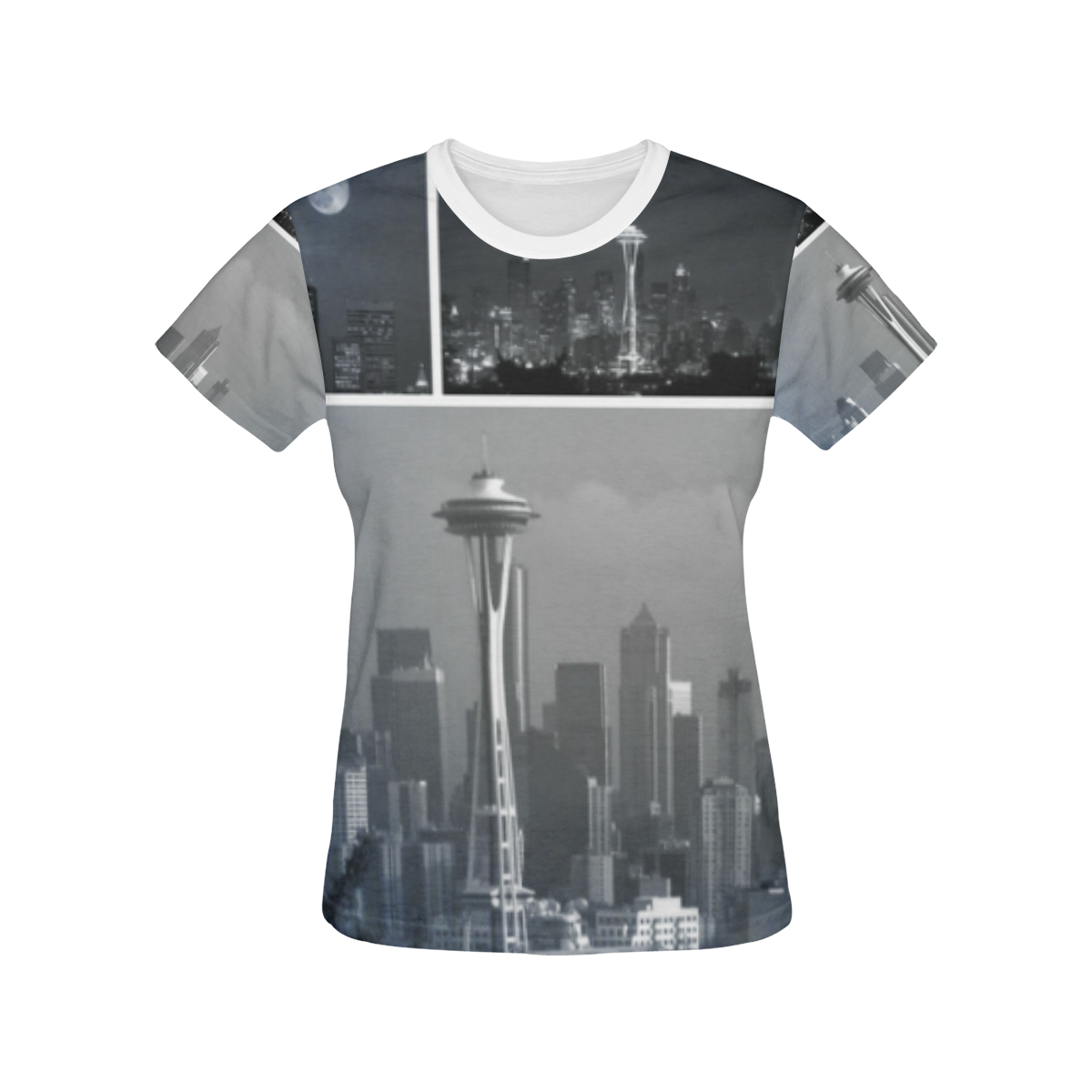Grey Seattle Space Needle Collage All Over Print T Shirt For Women