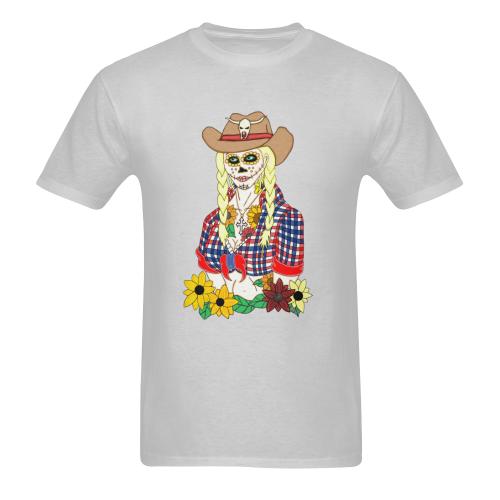 Cowgirl Sugar Skull Grey Men's Heavy Cotton T-Shirt - 5000