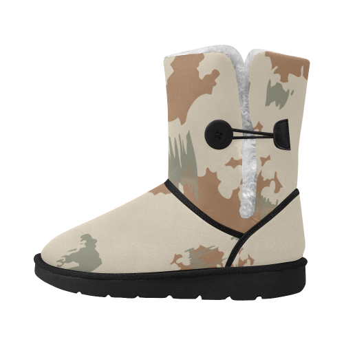 Gulf War desert camouflage style 55 Unisex Single Button Snow Boots (Model 051)