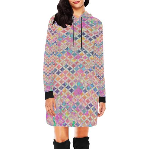 ZigZag Flower of Life Pattern2 All Over Print Hoodie Mini Dress (Model H27)