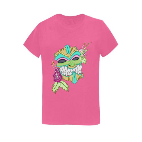 Tropical Tiki Mask Pink Women's Heavy Cotton Short Sleeve T-Shirt - 5000L