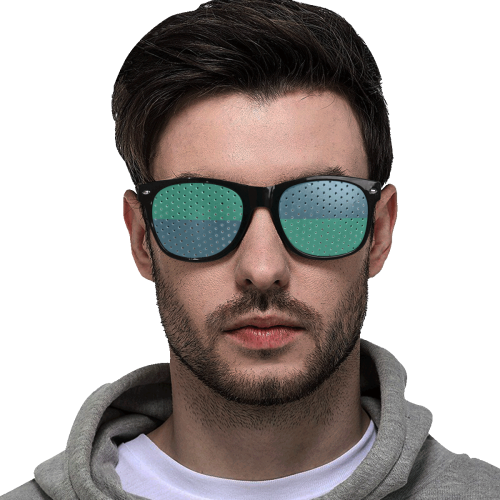 Only two Colors: Dark Blue - Ocean Green Custom Sunglasses (Perforated Lenses)