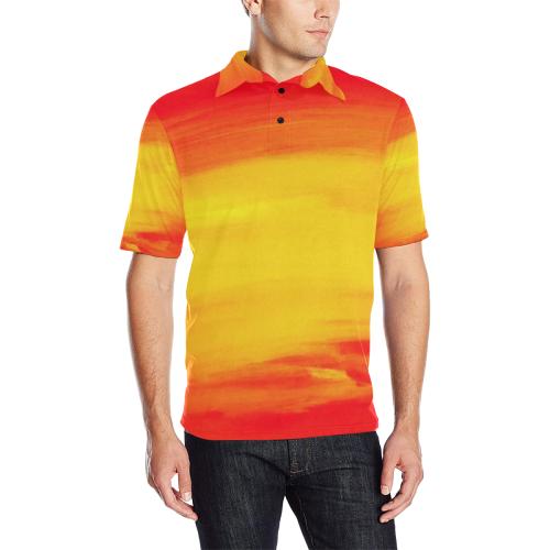 133c9086 Orange Sunset Vision Men Men's All Over Print Polo Shirt (Model T55)