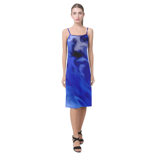 f6cde34a7c64b Dark Blue silver waves Alcestis Slip Dress (Model D05) | ID: D3072172