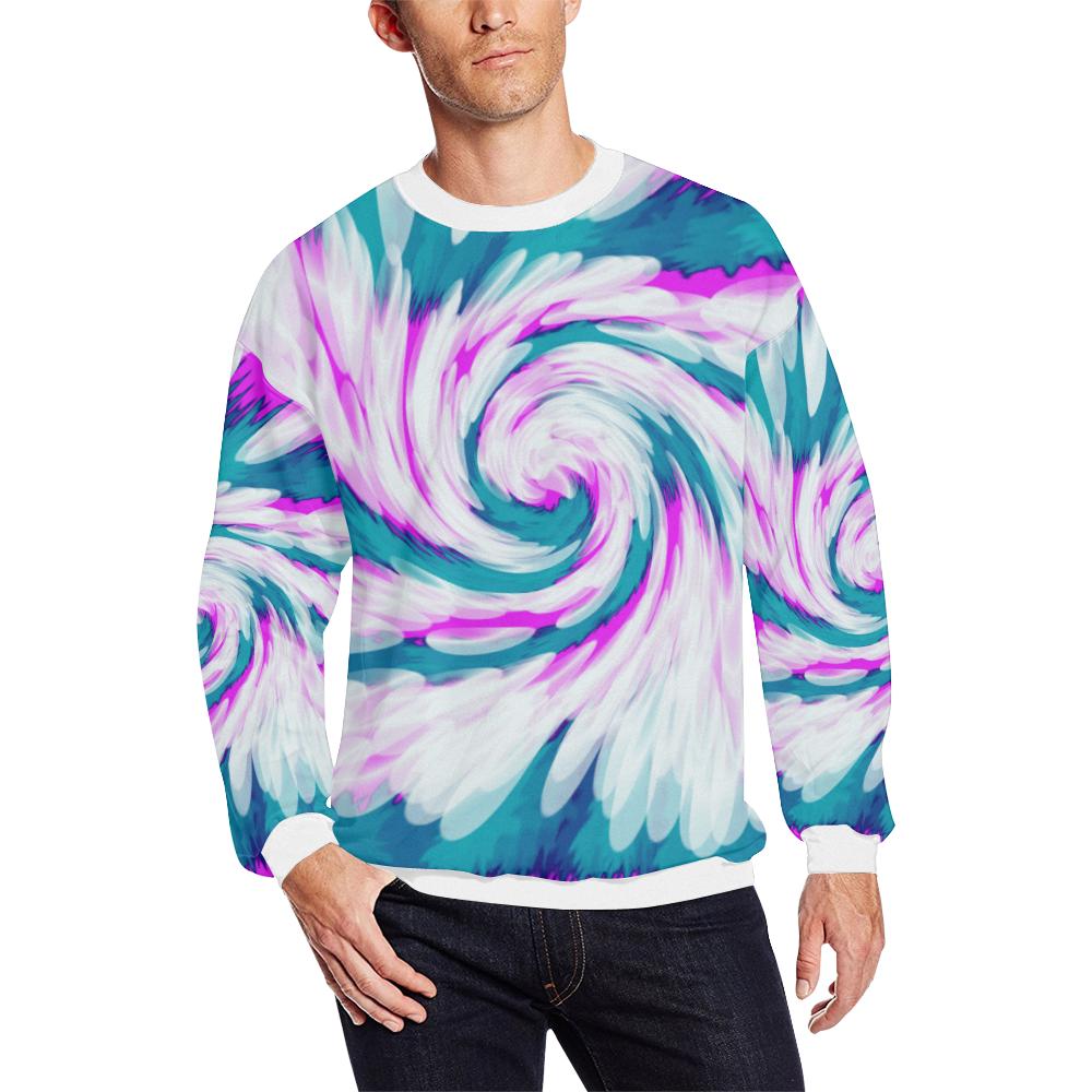 22940c419d Turquoise Pink Tie Dye Swirl Abstract Men s Oversized Fleece Crew Sweatshirt  (Model H18)