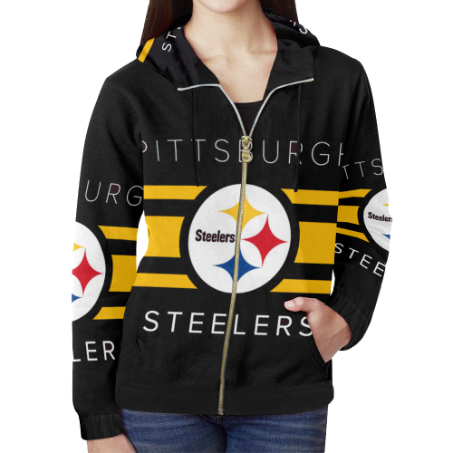 huge selection of e8214 c6a41 Pittsburgh Steelers Logo All Over Print Full Zip Hoodie for Women (Model  H14)