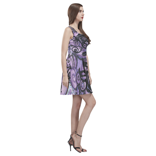 Graffiti Roses in Violet Thea Sleeveless Skater Dress(Model D19)