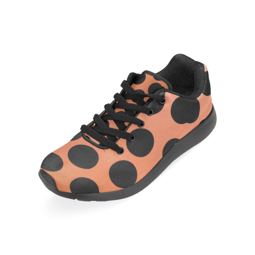 50 dots deluxe on gold. black on gold Women's Running Shoes (Model 020)