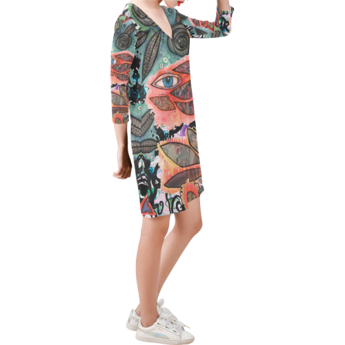 Wait a Minute Deep V Three-Quarter Sleeve Dress (Model D48)