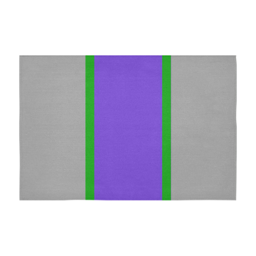 "Purple, Gray and Green Stripes Cotton Linen Tablecloth 60"" x 90"""