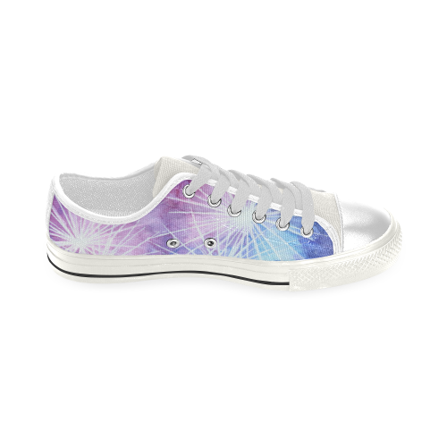 Blue and pink fireworks Low Top Canvas Shoes for Kid (Model 018)