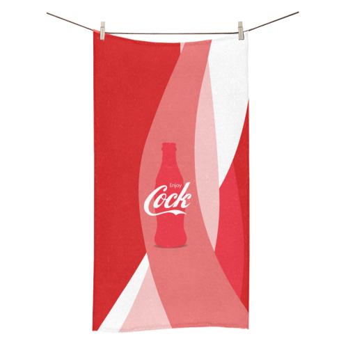 """Enjoy Cock (NSFW Coke Parody) - on Red Swirls Bath Towel 30""""x56"""""""