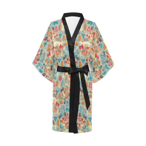 Hipster Triangles and Funny Cats Cut Seamless Patt Kimono Robe