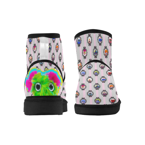 Pink and Gray Low Top Unisex Snow Boots (Model 049)