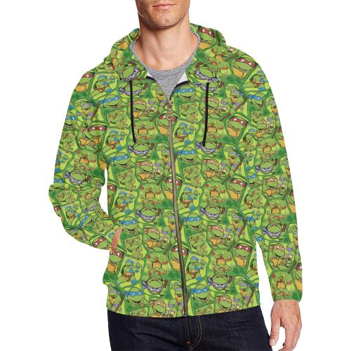 ade53781 Teenage Mutant Ninja Turtles (TMNT) All Over Print Full Zip Hoodie for Men/Large  Size (Model H14) | ID: D2722510
