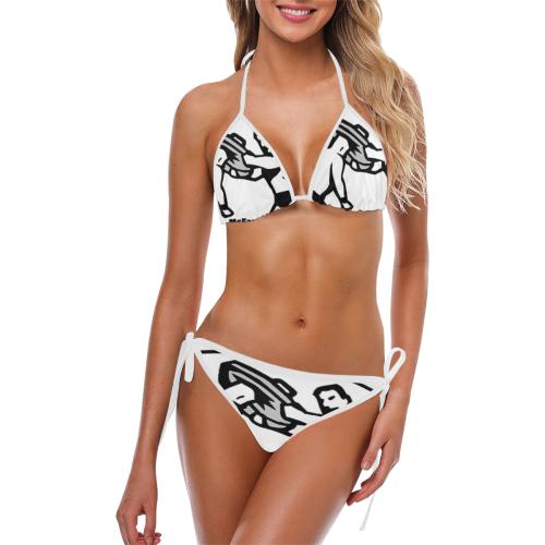 Trash Can Lid shot - b & w Custom Bikini Swimsuit (Model S01)