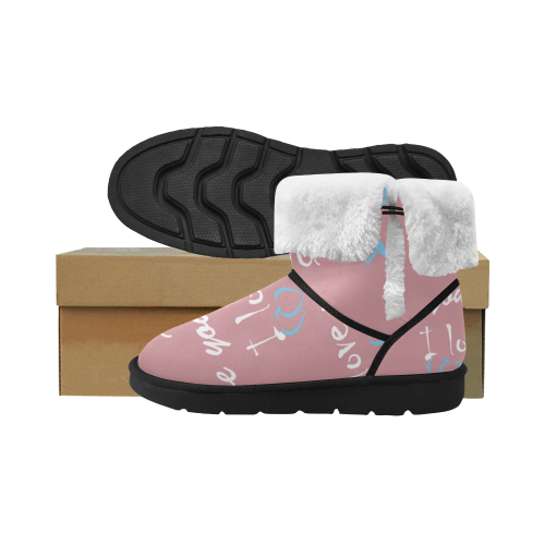 crazy friends Design boots // PINKs Unisex Single Button Snow Boots (Model 051)