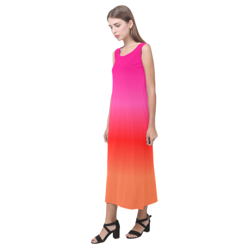 Pink, Red and Orange Gradient Phaedra Sleeveless Open Fork Long Dress (Model D08)