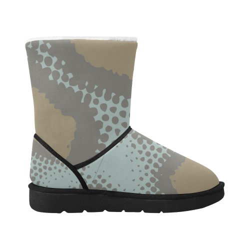 Blue and brown camo Boots choco Unisex Single Button Snow Boots (Model 051)