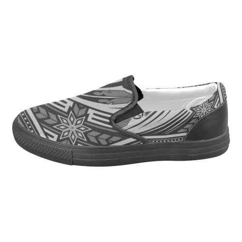 Wind Spirit Gray Men's Slip-on Canvas Shoes (Model 019)