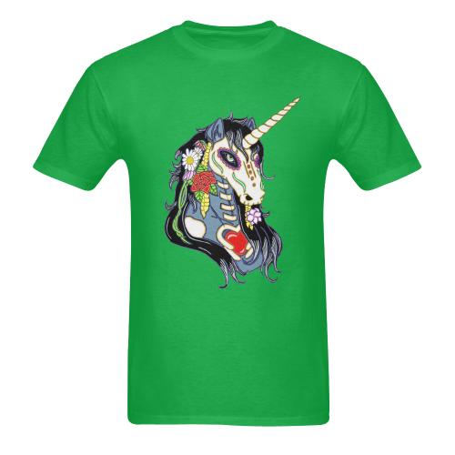 Spring Flower Unicorn Skull Green Men's Heavy Cotton T-Shirt - 5000