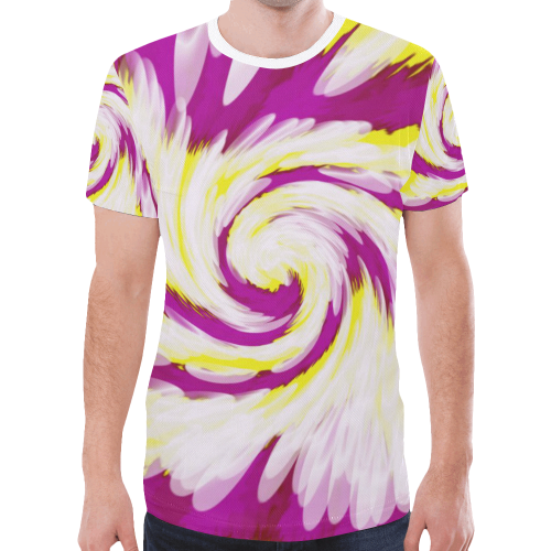 35239f6ccf27 Pink Yellow Tie Dye Swirl Abstract New All Over Print T-shirt for Men Large  Size (Model T45)