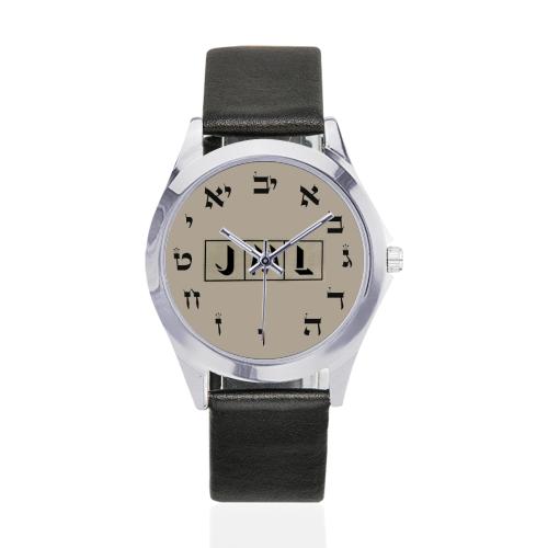 projet bar mitzva 5 Unisex Silver-Tone Round Leather Watch (Model 216)