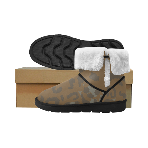 Dark brown camo Design winter shoes Unisex Single Button Snow Boots (Model 051)