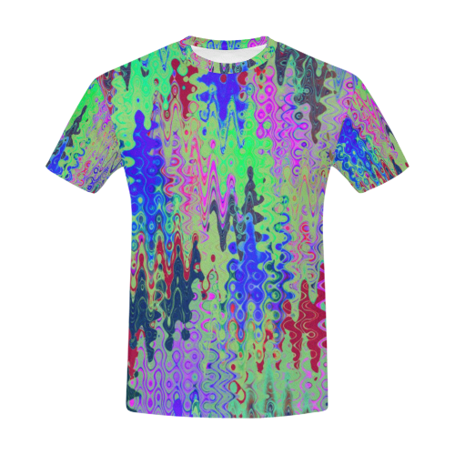 52be5b8aefa8 Psychedelic Liquid Sound Paint Tie Dye Rave Crew Neck All Over Print T-Shirt  for Men (USA Size) (Model T40)