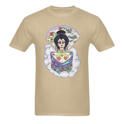 Geisha Sugar Skull Sand Men's Heavy Cotton T-Shirt - 5000 (Plus-size)