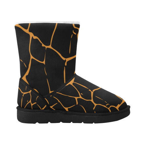 abstract animal skin DESIGN BOOTS - black Unisex Single Button Snow Boots (Model 051)