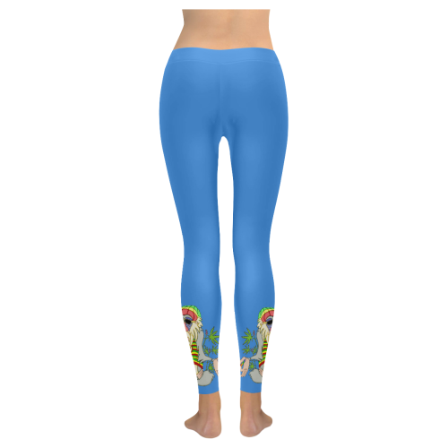 Hippie Ganja Guru Blue All Over Print Legging
