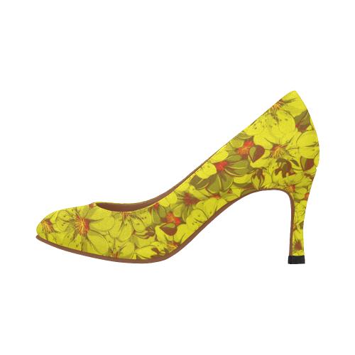Yellow flower pattern Women's High Heels (Model 048)
