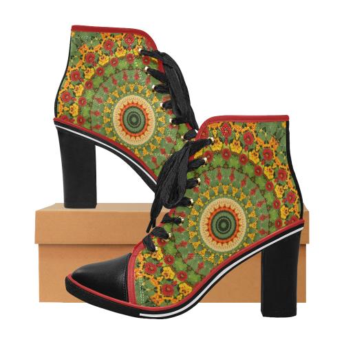 Garden Mandala Women's Lace Up Chunky Heel Ankle Booties (Model 054)