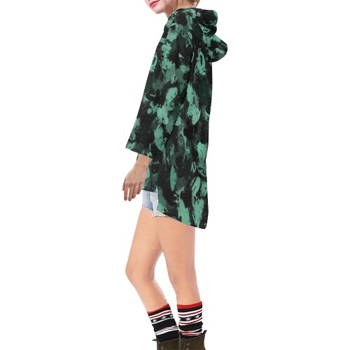 Black and Teal Green Abstract 0244 Step Hem Tunic Hoodie for Women (Model H25)