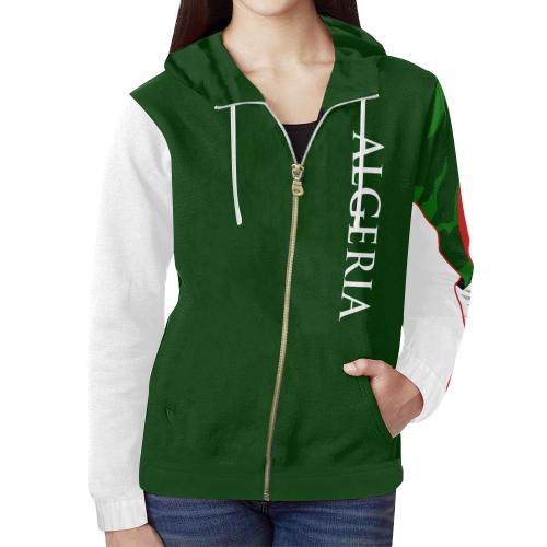960cfdc64debb Algeria Ladies Custom Flag Hoodie 3.0 All Over Print Full Zip Hoodie for  Women (Model H14)